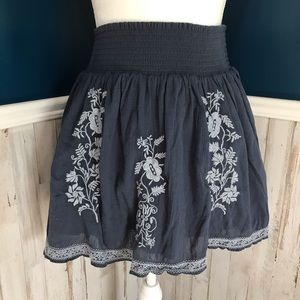 J Crew Navy Embroidered Mini Skirt Needle Pointe